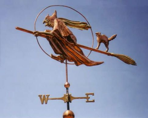 "WITCH WEATHER VANE Witch Flying with Cat Weather Vane by West Coast Weather Vanes. This Witch weathervane was designed in the spirit of Halloween, with a long warty nose, peaked hat, brass buckles  on her pointy toed boots, and riding a broom. The cat, a fun addition, is posed in a ""scared"" cat with it's tail fluffed out, and mouth open."