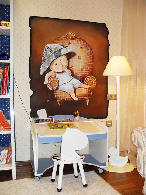 Art paintings on the walls. Design a child's room for a little boy. Interpretation paintings Evgenia Gapchinskaya.