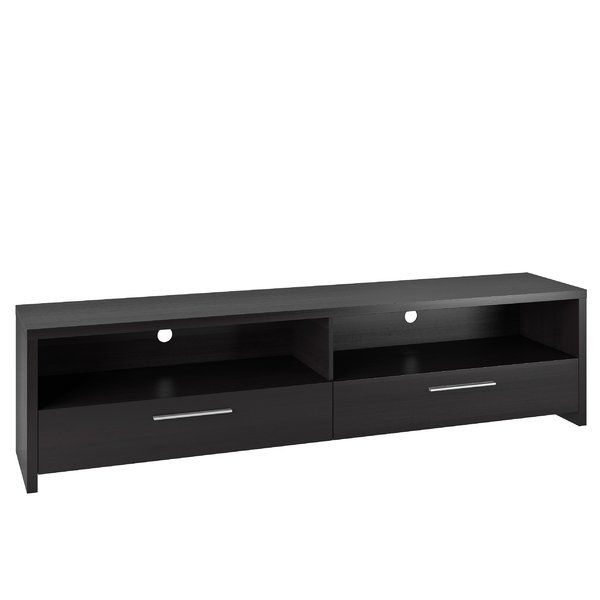 Set the foundation for your contemporary-tinged entertainment space with this simply chic TV stand, the perfect balance of low-key looks and updated, loft-worthy appeal in your environment. Featuring a clean-lined solid and manufactured wood design, this piece makes an understated addition to your look, while its deep, black faux wood grain finish lets you lean into neutral and earthy palettes alike. Set it against an off-white or gray wall in the living room to complement its monotone…