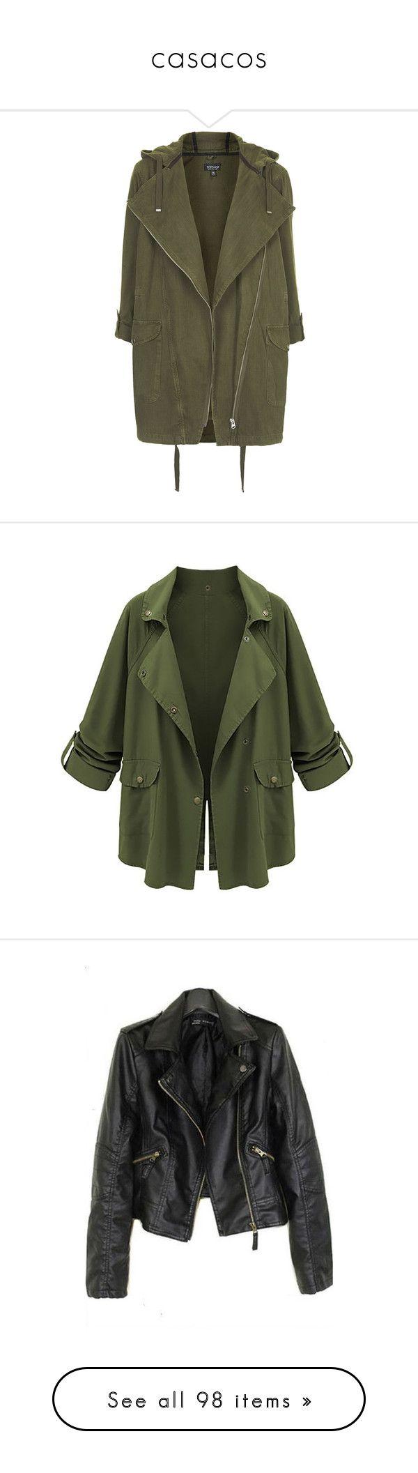 """casacos"" by dani-gracik on Polyvore featuring outerwear, jackets, coats, coats & jackets, khaki, topshop parka, cotton parka, khaki parka, tops e green"