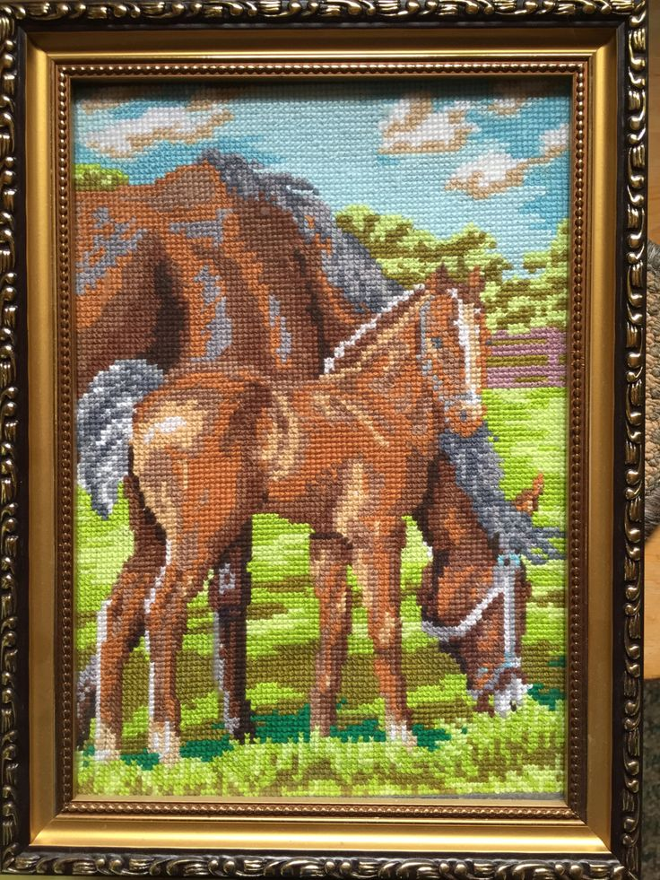 """Completed cross stitch, Home decoration, Framed cross stitch, Handmade embroidery -""""On grazing"""". by NattikStudio on Etsy"""