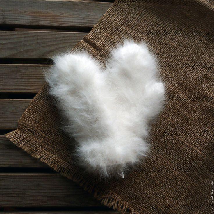 Купить Варежки очень пушистые кроличьи - белый, однотонный, пух кролика, варежки, пушистые варежки