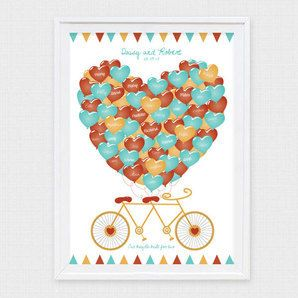 bicycle built for two fingerprint or signature guest book  // Down That Little Lane
