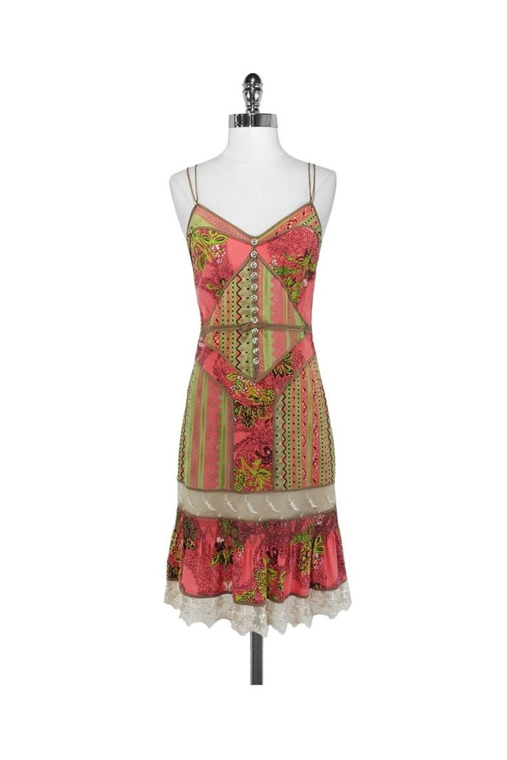 Tracy Reese - Colorful Silk & Lace Dress Sz 4 | Current Boutique