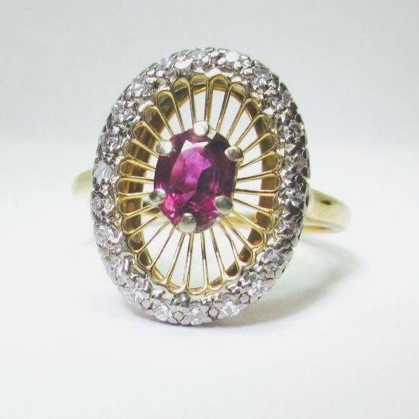 GORGEOUS UNIQUE VINTAGE ESTATE JABEL RUBY & DIAMOND SOLID 18K Cocktail Ring SALE #Jabel #Cocktail