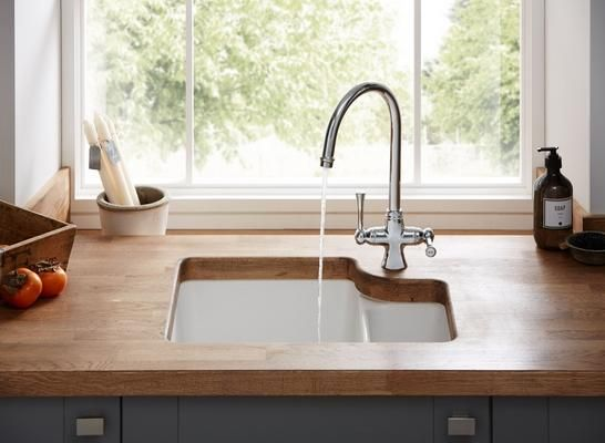 Lamona ceramic undermount 1.5 bowl sink with Lamona Chrome Adra swan neck monobloc tap