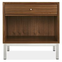 The simple, clean look of each Delano nightstand is a tribute to mid-century modern design. Handcrafted from solid wood and carefully selected wood veneers, Delano offers a beautiful mix of materials with its stainless steel base and pulls.
