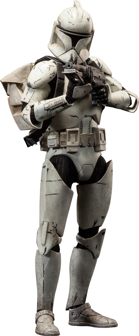 "Sideshow Collectibles Star Wars - Clone Trooper Deluxe: Veteran Sixth Scale Figure ~ ""These seasoned vets have survived countless hard-fought battles. Crafted on a fully articulated body w combat-weathered armor, the Clone Trooper Veteran features interchangeable Phase 1 & 2 helmets, & arsenal of essential munitions."" ~ SRP: $139.99"