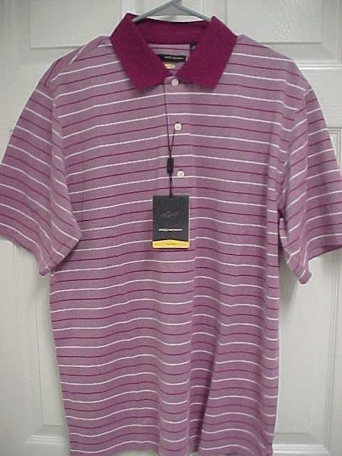 GREG NORMAN Play Dry Men Stripe Berry Short Sleeve Golf Polo Shirt M New Tag $54 #GregNorman #PoloRugby