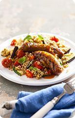 Sausages with chargrilled vegetables & couscous