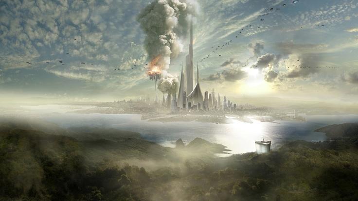 Download 1920x1080 Full HD 1080p 1080i city, skyscrapers, future, fog, slopes, sea, sky Wallpaper Widescreen WallpapeprsCraft