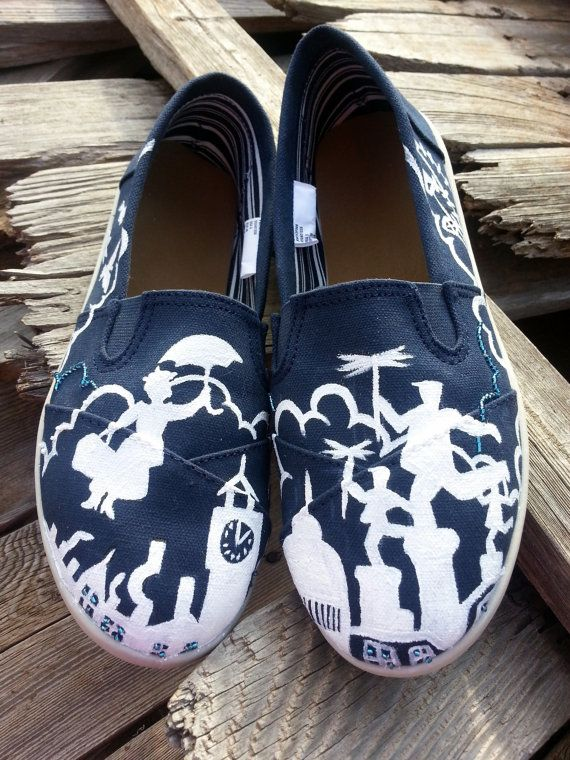 <3 | Women's Disney Mary Poppins Handpainted by likemothstoaflame, $100.00. Too cute to wear, but I love them!