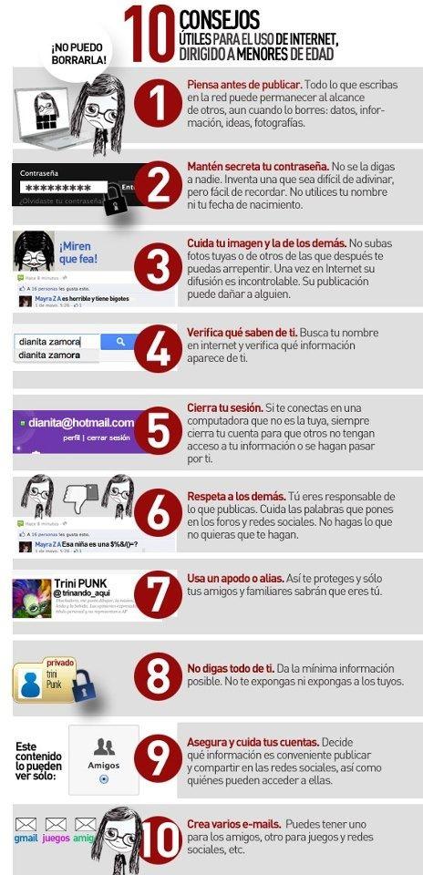"""Hola: Compartimos una infografía sobre """"10 Consejos para los Menores sobre el Uso del Internet"""". Un gran saludo.  Elaboración: Anónimo  Enlaces de interés: 10 Recomendaciones sobre el U..."""