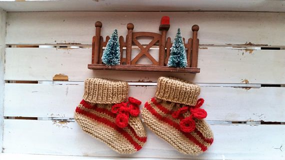 Knitted brown/red baby yarn booties with crocheted ties  baby