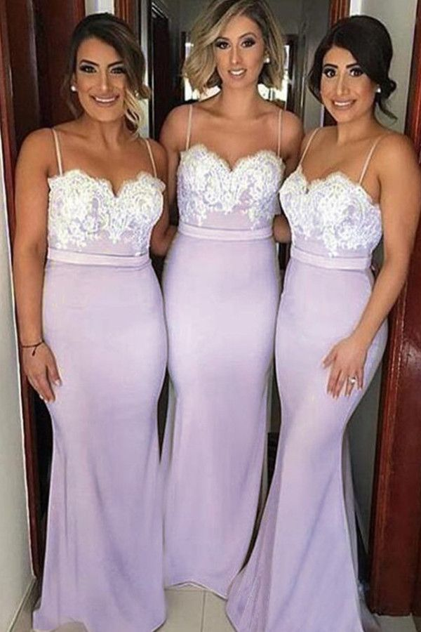 Spaghetti Straps Lavender Elastic Satin Bridesmaid Dress With Lace TY0023