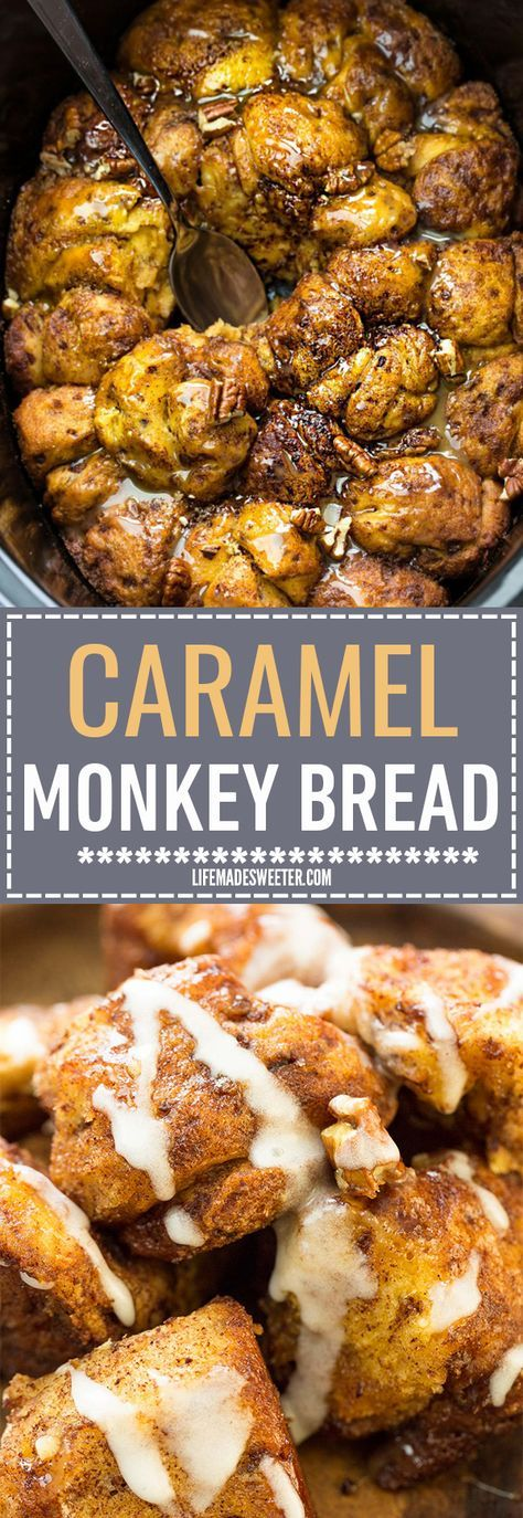 Butterscotch Caramel Monkey Bread - the perfect easy make-ahead recipe for breakfast, brunch or dessert. Best of all, it's super easy and simple to make with refrigerated cinnamon roll dough in your slow cooker or the oven! Plus video!