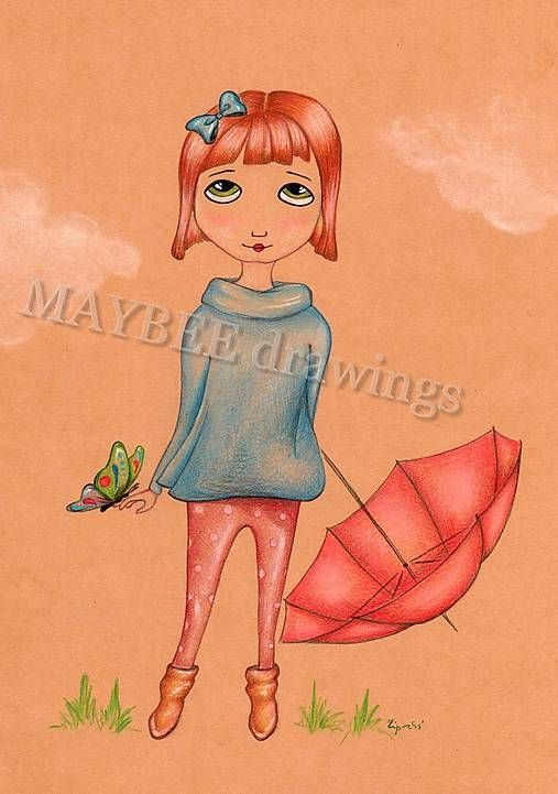 Online print, Linda a motýľ, cute drawing, cute girl, girly drawing, colored pencil drawing, colored drawing