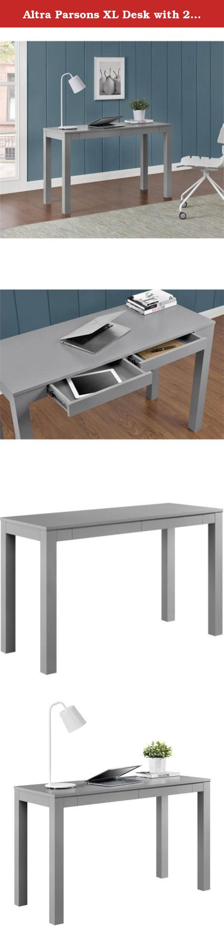 Altra Parsons XL Desk with 2 Drawers in Gray. Redefine your workspace or any room in your home with the sleek, minimalist lines of this attractive Altra Parsons XL Desk with Two Drawers.