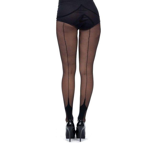Leg Avenue Black Cuban Heel Stockings ($12) ❤ liked on Polyvore featuring intimates, hosiery, tights, multicolor, colorful stockings, leg avenue hosiery, multi coloured tights, leg avenue stockings and leg avenue tights