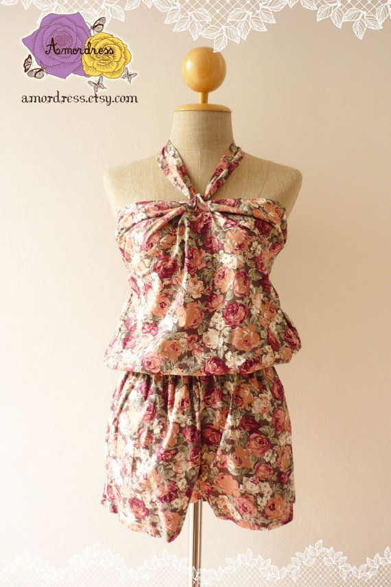 Rose Jumper Shorts Dress Vintage Inspired Holiday by Amordress, $39.00