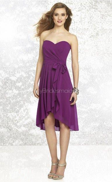 Purple Chiffon A-line Sweetheart Asymmetrical Bridesmaid Dresses(NZBD06843)