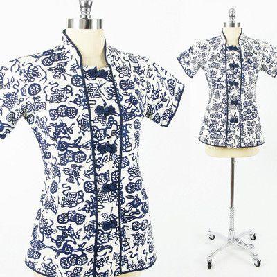 vtg 70s 80s ethnic ASIAN chinese BATIK print KIMONO tunic shirt blouse top S/M $38.00