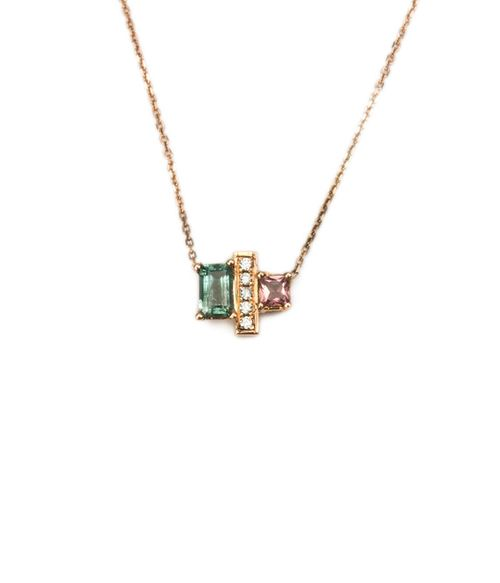 "This is a wow piece! Beautiful green and pink tourmaline separated by a bar of pave diamonds.  .39 Carat tourmaline & .04 Carat diamonds set into 14K Rose gold16"""" chain length Handmade in Los Angeles"