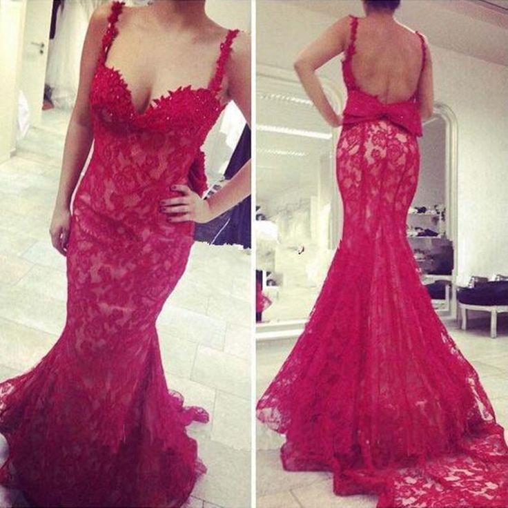New Design Lace Prom Dress,Red Mermaid Prom Dress,Backless