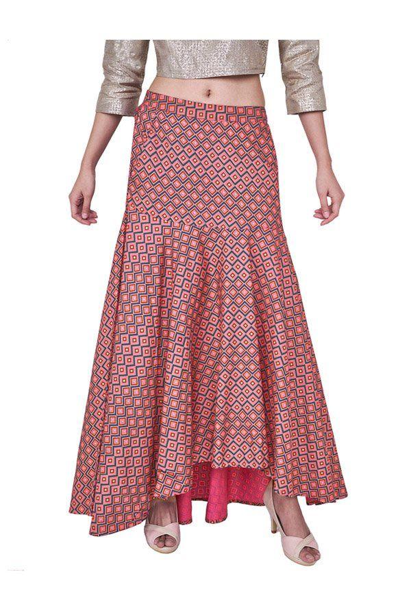 c2db8f3aac Global Desi Pink Printed Maxi Skirt -   2999.00   Shorts & Skirt ...