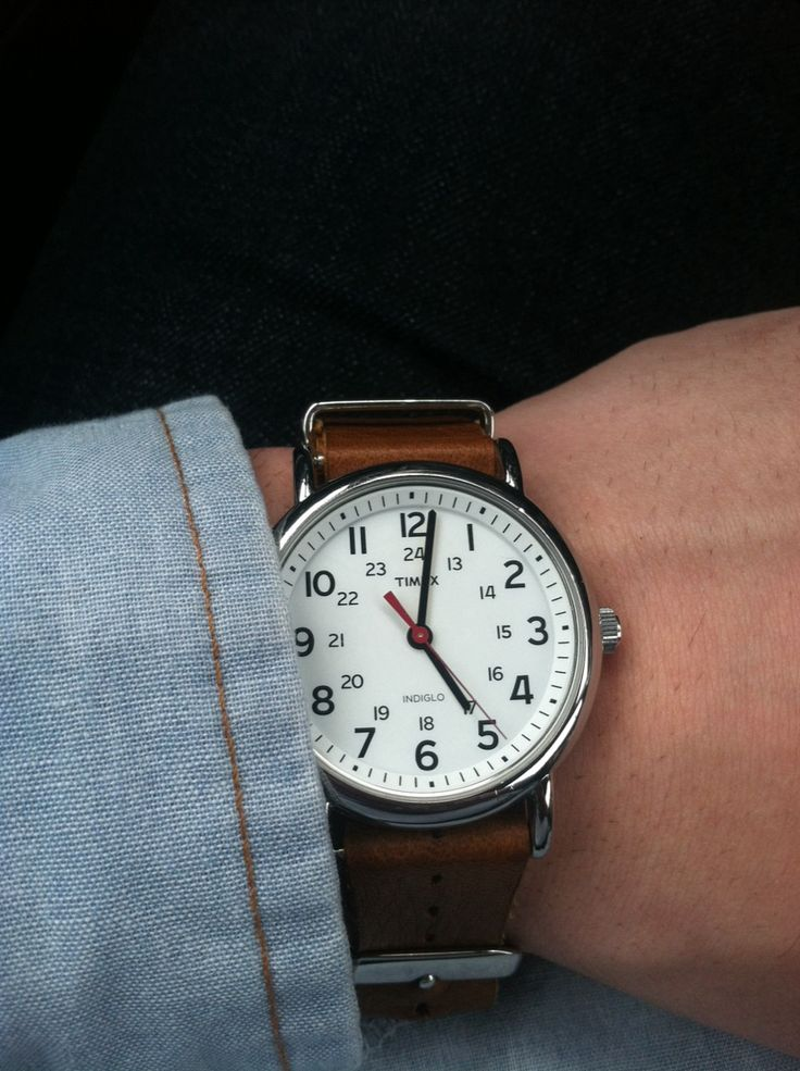 Timex Weekender watch with a leather bracelet