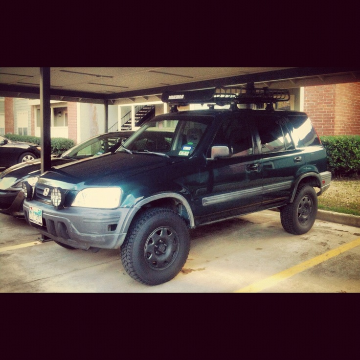 Off Road Lifted Honda Crv With Roof Rack And Black Stock