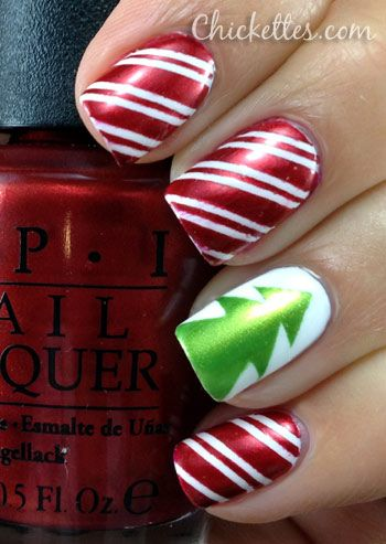 Candy Cane and Christmas Tree Nail Art