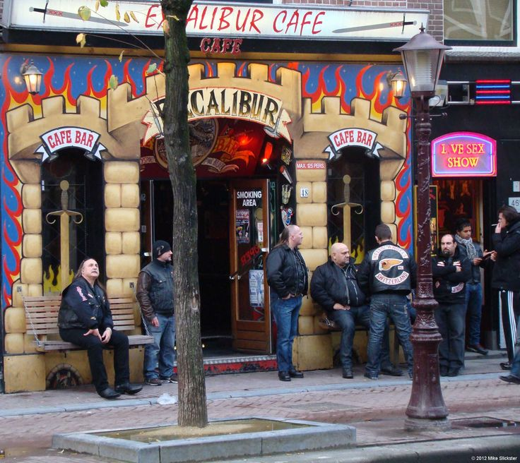 Hells Angels, Switzerland Chapter, taking in the sights surrounding Oudezijds Achterburgwal at the Red Light District.