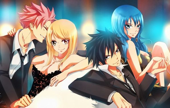 I ship these Fairy Tail Couples: Lucy & Natsu (obviously) Juvia & Gray (Juvia is already devoted to gray) Erza & Jellal (already got feelings for each other, complicated) Levy & Gajeel (would make a great couple) Wendy & Romeo (would just be too cute!!!!) Evergreen & Elfman (chemistry is already there) Mirajane & Laxus (would make a beautiful couple) Bisca & Alzack (married, i admit i seriously shipped this couple long before they married) Happy & Carla (cute, complete opposites) Etc...