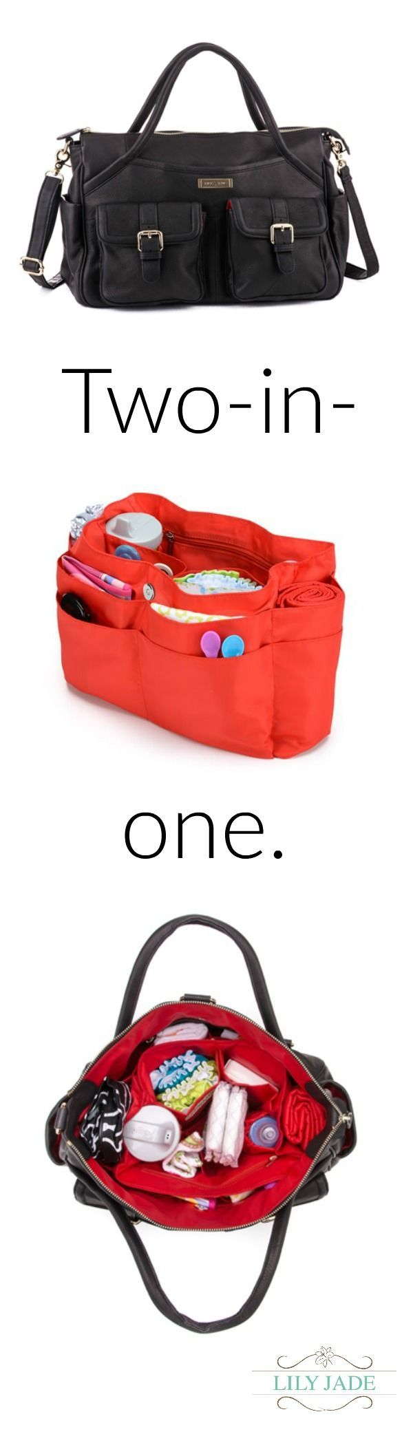Stop digging for the pacifier. Lily Jade's luxe leather bags come with 21 pockets and a removable, washable organization insert. Go now to http://www.lily-jade.com to learn more.