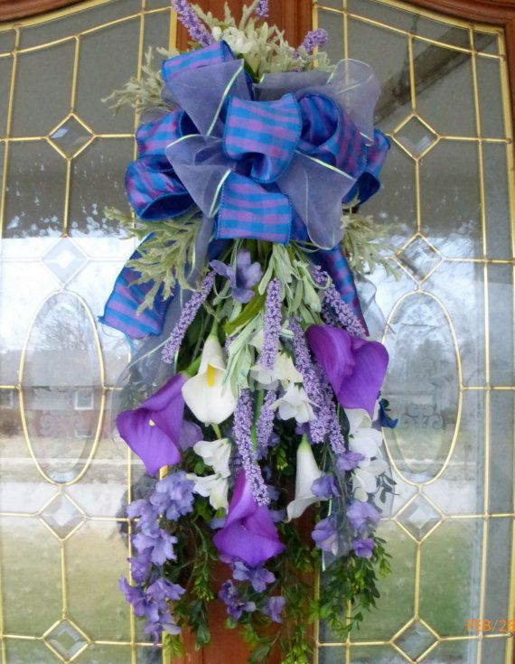 Purple and white Calla Lily Door Swag - door swags -Summer Wreaths - Front door decor - floral Swags - lavender and purple swags & 108 best Spring u0026 Summer wreaths Door Swags and Wall Pockets ... pezcame.com