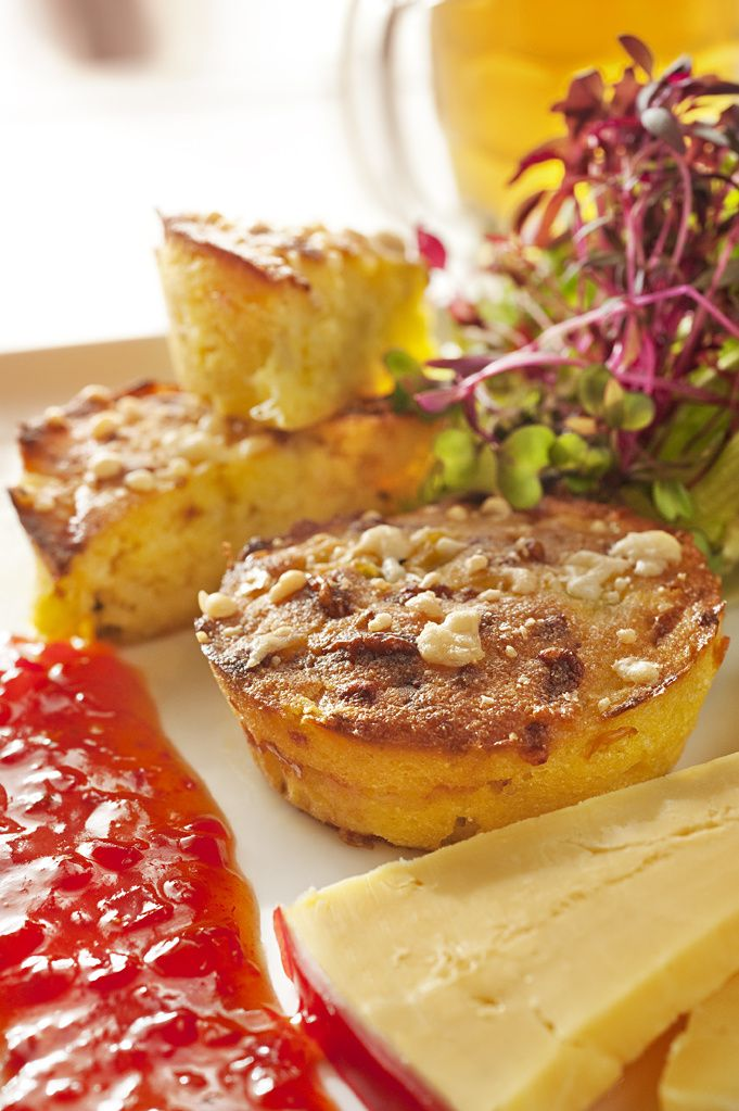 Polenta, Cheese and Green Tomato Pickle Muffins #safood #beerenberg
