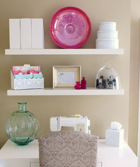 Would love these shelves above my Sewing table.
