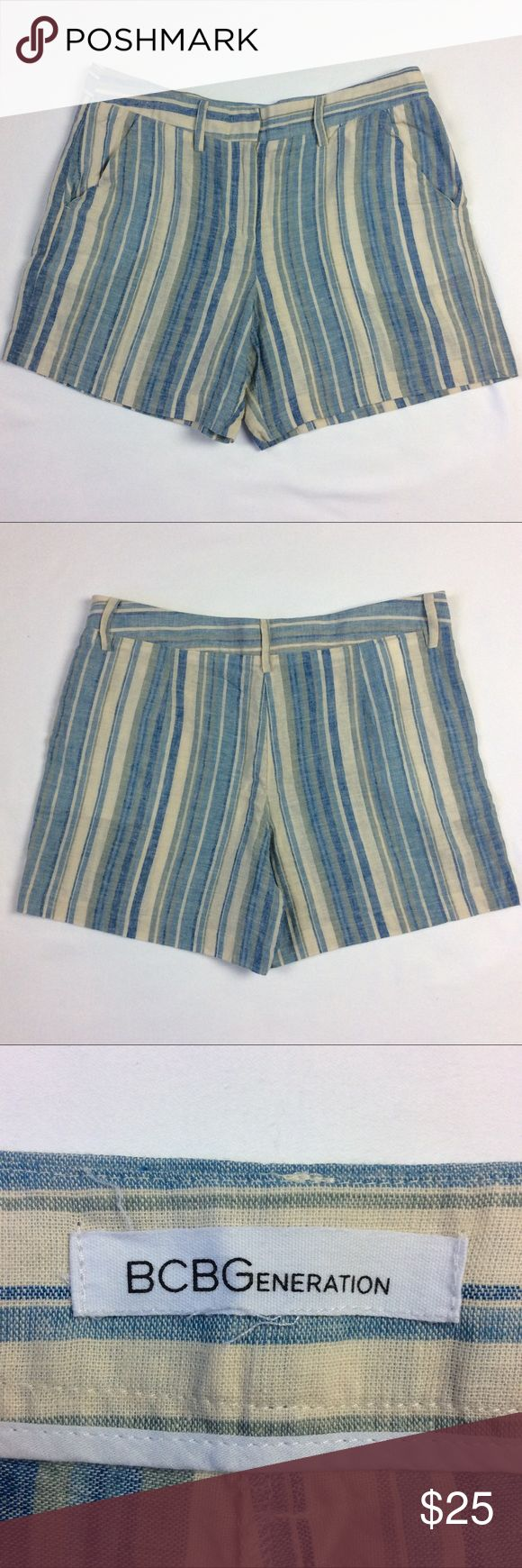 "BCBGenerations Linen/Cotton blend striped shorts BCBGenerations Linen/Cotton blend shorts  Size 6  Flat lay measurements:  waist- 16""  rise- 10""  hips- 14""  inseam- 5""  leg opening- 11"" BCBGeneration Shorts"