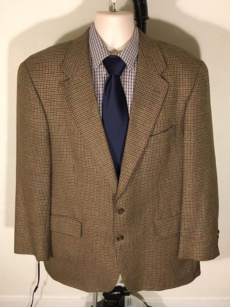 Chaps Ralph Lauren Blazer Size 46R Houndstooth Brown 55% Silk / 45% Wool Canada #RalphLauren #TwoButton