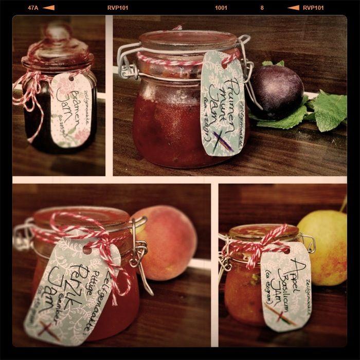Verschillende smaken in ontwikkeling: Bramen jam, Pruimen Munt, Pittige Perzik Gember en Appel Basilicum. Stuk voor stuk fijne smaken!