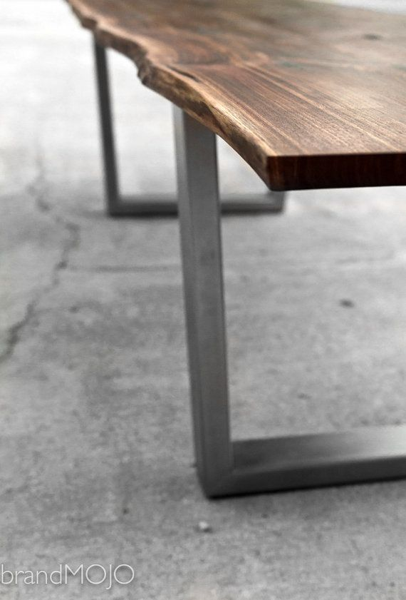 Live Edge Walnut Dining Table With Steel Legs And Optional Bench