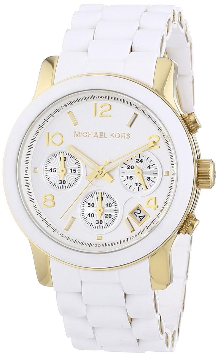 Michael Kors Runway MK5145 - Reloj cronógrafo de cuarzo para mujer, correa de silicona color blanco (cronómetro): Michael Kors: Amazon.es: Relojes