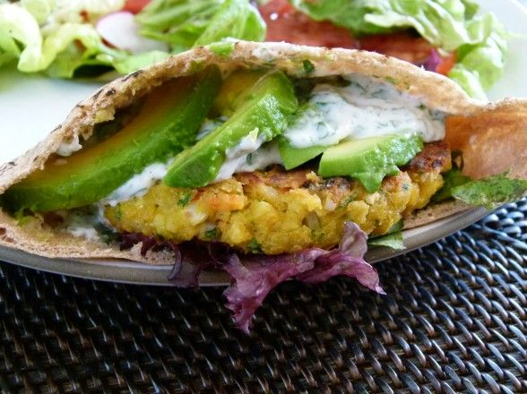 Chickpea vegiburger. Just throw ingredients in a food processor, then mush them into patties. Easy enough.