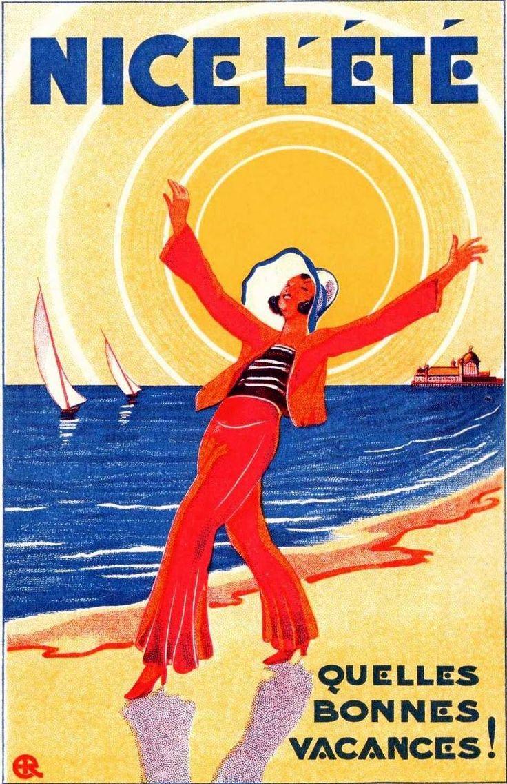 Nice L'Etè Quelle Bonnes Vacance!  Vintage Plage Affiche  ~ vintage beach travel poster
