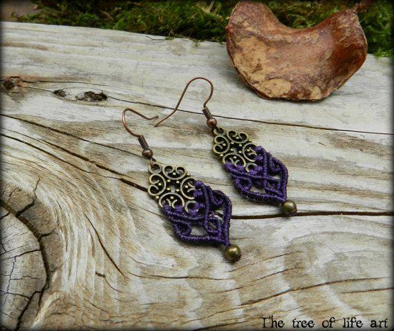 Macrame boho earrings with bronze charms & metal beads/Five colors/Small earrings/Micromacrame/Tribal earrings/Ethnic jewelry