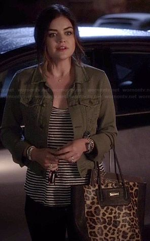 Aria's green denim jacket and leopard print bag on Pretty Little Liars.  Outfit Details: http://wornontv.net/35061/ #PLL