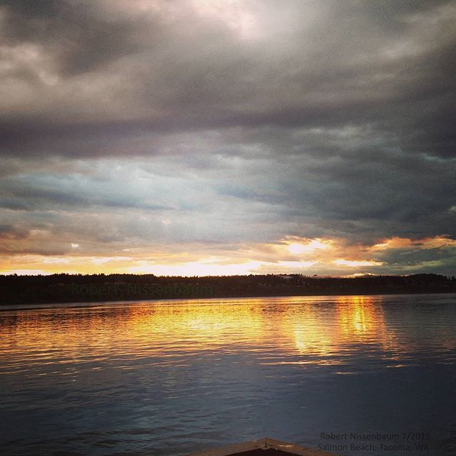 The sun is setting over the Narrows on another beautiful night in the Pacific Northwest. How was your weekend?  Picture taken off the deck at Salmon Beach.