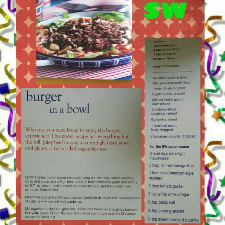 Slimming world burger in a bowl | Slimming world recipes | Pinterest
