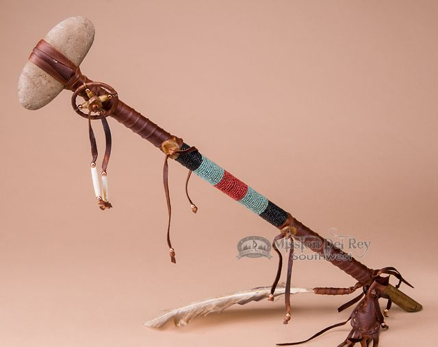Indian beaded stone tomahawk 26 pueblo native for What crafts did the blackfoot tribe make
